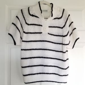 VTG Black and White Striped Sweater, Cinched Waist